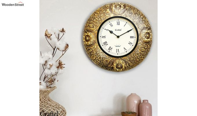 Antique 12-inch Brass Metal Fitted on MDF Wooden Base with Dome Glass Decorative Wall Clock-1