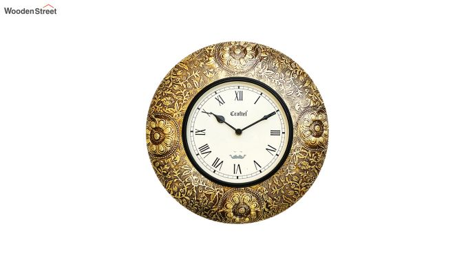 Antique 12-inch Brass Metal Fitted on MDF Wooden Base with Dome Glass Decorative Wall Clock-2
