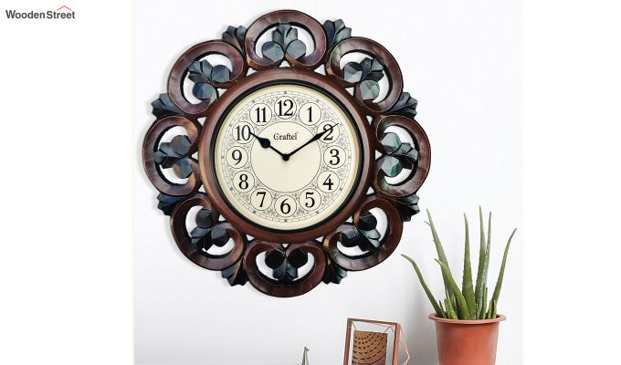 Antique 16-inch MDF Wooden Hand Carved Vintage Decorative Wall Clock-1