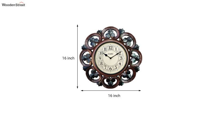 Antique 16-inch MDF Wooden Hand Carved Vintage Decorative Wall Clock-3