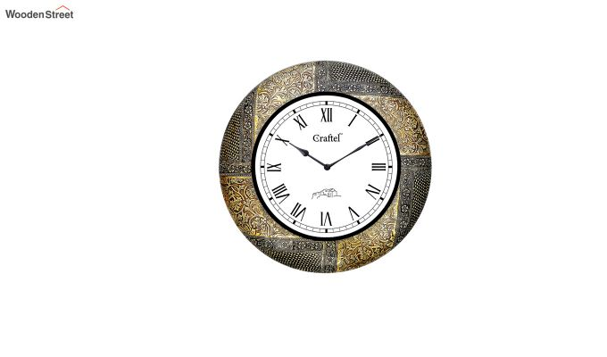 Antique 18-inch Brass Metal Fitted on MDF Wooden Base Decorative Wall Clock-2
