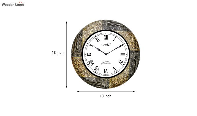 Antique 18-inch Brass Metal Fitted on MDF Wooden Base Decorative Wall Clock-3