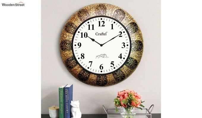 Antique 18-inch Brass Metal Fitted on MDF Wooden Base with Dome Glass Decorative Wall Clock-1