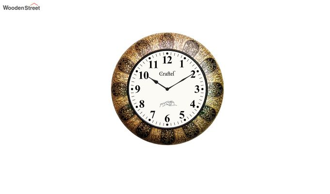 Antique 18-inch Brass Metal Fitted on MDF Wooden Base with Dome Glass Decorative Wall Clock-2