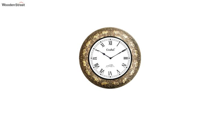 Antique 18-inch Elephant Design Brass Metal Decorative Wall Clock-2