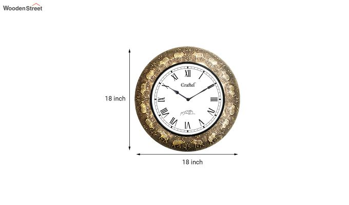 Antique 18-inch Elephant Design Brass Metal Decorative Wall Clock-3