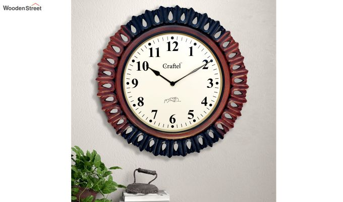 Antique 18-inch MDF Wooden Hand Carved Vintage Wall Clock-1