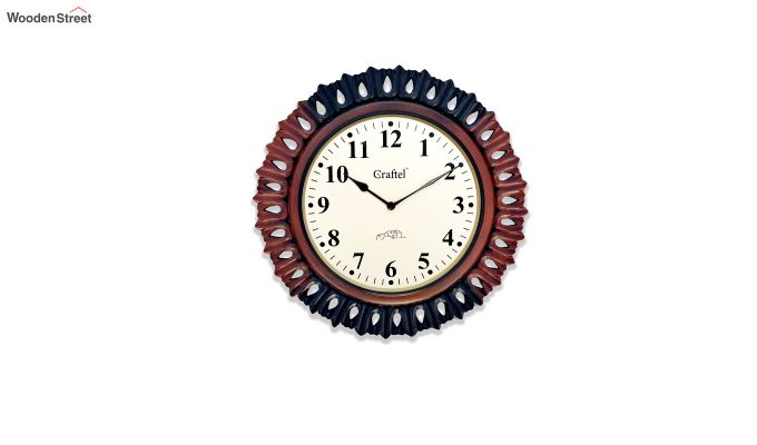 Antique 18-inch MDF Wooden Hand Carved Vintage Wall Clock-2