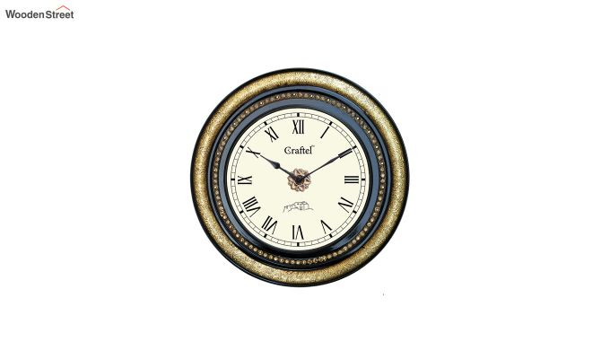 Antique Brass Fitted Black Polished and Bass Circle in Dial Decorative Wall Clock-2