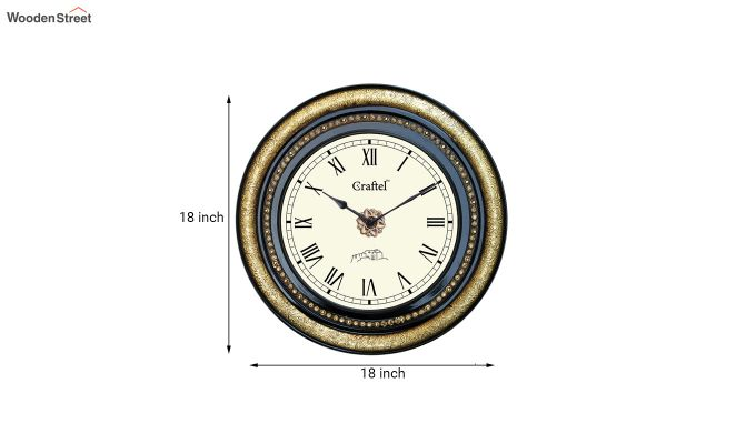 Antique Brass Fitted Black Polished and Bass Circle in Dial Decorative Wall Clock-3
