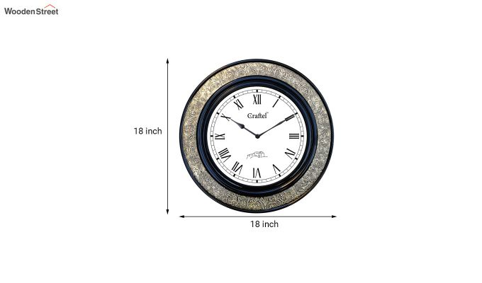Antique Brass Metal Finish Fitted on MDF Wooden Base with Dome Glass Decorative Wall Clock-3