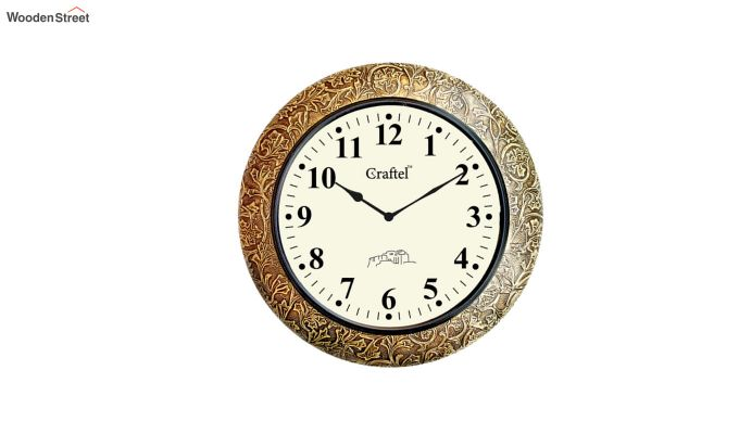 Antique Brass Metal Fitted on MDF Base Decorative Wall Clock-2