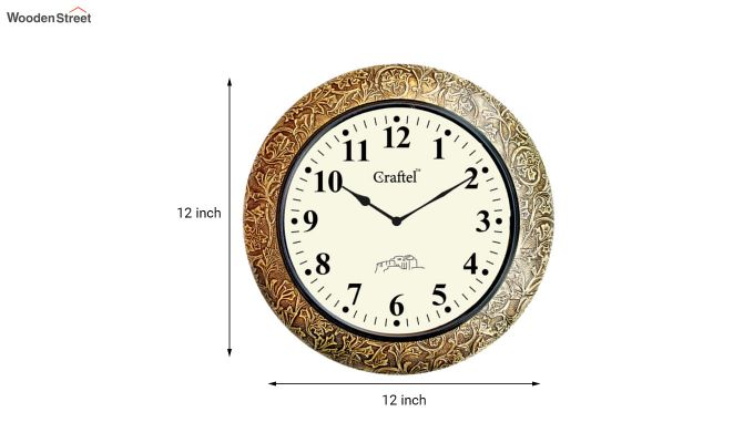 Antique Brass Metal Fitted on MDF Base Decorative Wall Clock-3