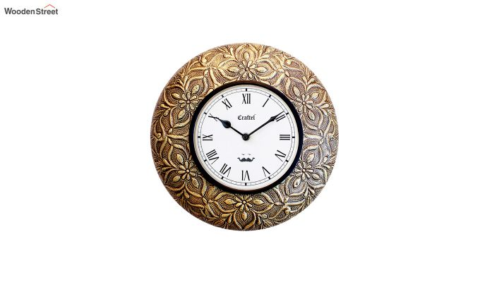 Antique Brass Metal Fitted on MDF Wooden Base Decorative Wall Clock-2