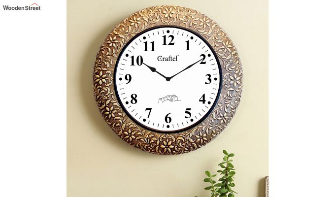 Antique Brass Metal Fitted on MDF Wooden Base with Dome Glass Decorative Wall Clock-1