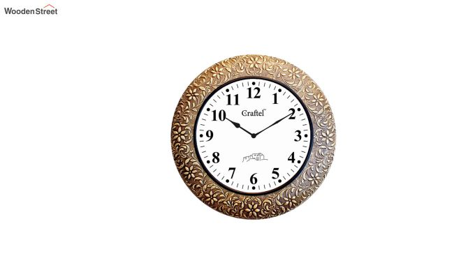 Antique Brass Metal Fitted on MDF Wooden Base with Dome Glass Decorative Wall Clock-2