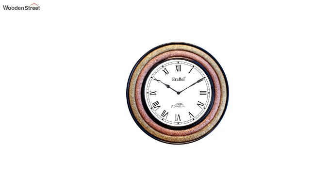 Antique Brass Two Metal Fitted on MDF Wooden Base Decorative Wall Clock-2