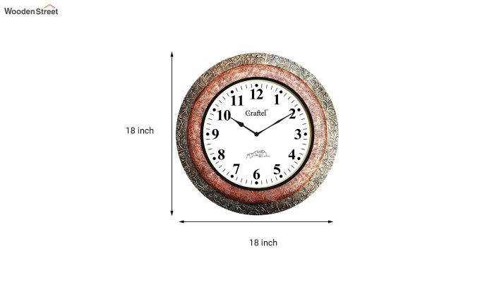 Antique Brass Two Metal Fitted on MDF Wooden Base with Dome Glass Decorative Wall Clock-3