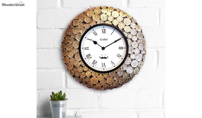Antique Coin Studded Brass Metal Decorative Wall Clock-1