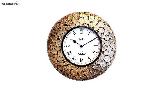 Antique Coin Studded Brass Metal Decorative Wall Clock-2