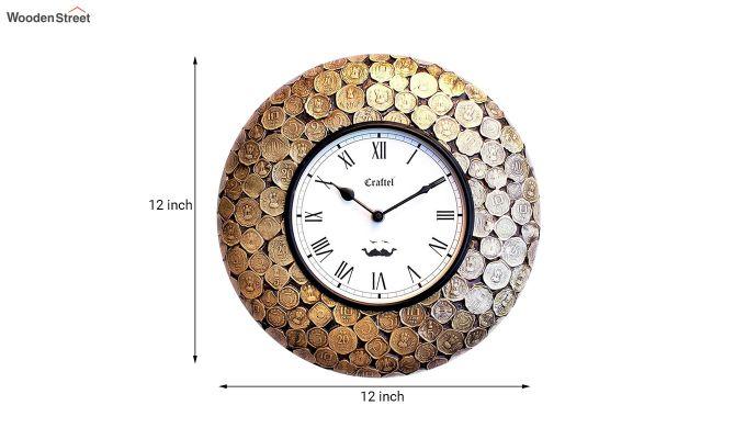 Antique Coin Studded Brass Metal Decorative Wall Clock-3