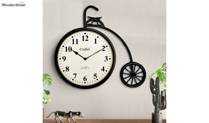 Antique Cycle Shaped Powder Coated Vintage Iron Wall Clock-1