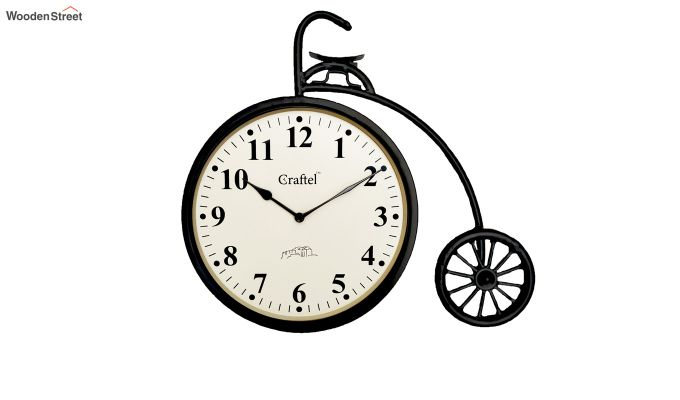 Antique Cycle Shaped Powder Coated Vintage Iron Wall Clock-2