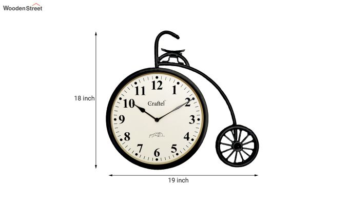 Antique Cycle Shaped Powder Coated Vintage Iron Wall Clock-3