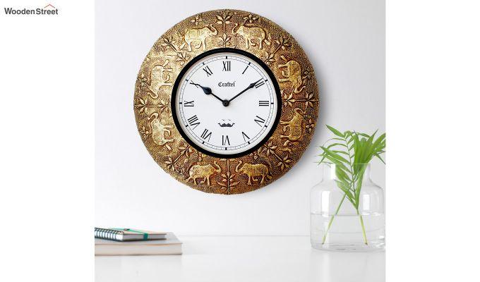 Antique Elephant Design Brass Metal Decorative Wall Clock-1