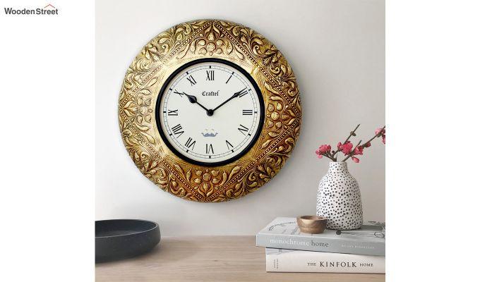 Antique Golden 12-inch Brass Metal Decorative Wall Clock-1