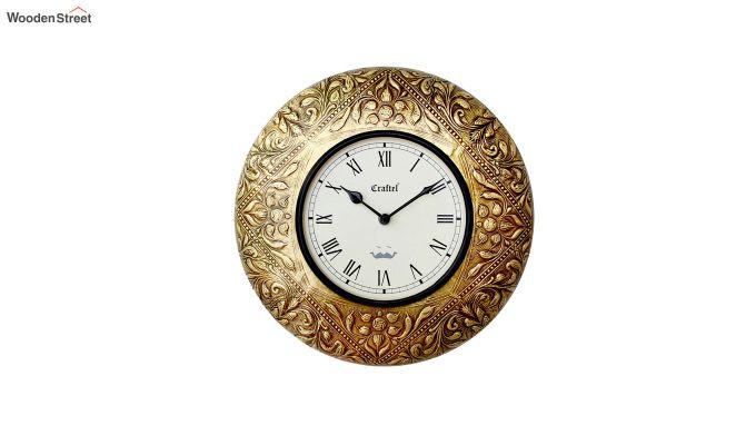Antique Golden 12-inch Brass Metal Decorative Wall Clock-2
