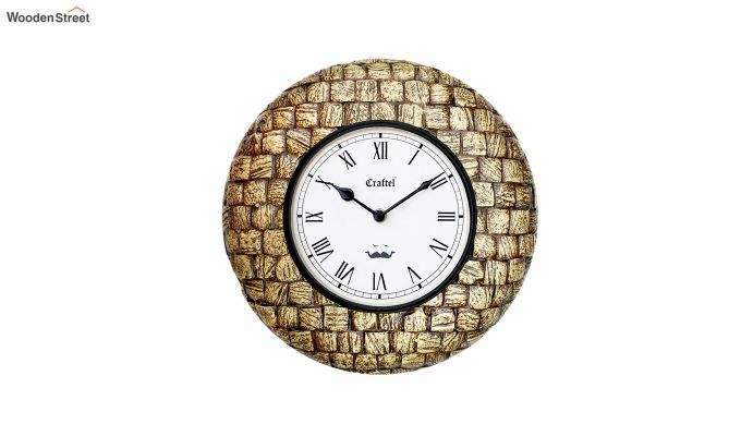 Antique Golden 12-inch Brass Metal Fitted on MDF Base Decorative Wall Clock-2