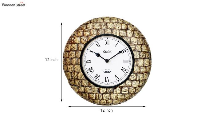 Antique Golden 12-inch Brass Metal Fitted on MDF Base Decorative Wall Clock-3