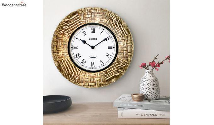 Antique Golden 12-inch Brass Metal Fitted on MDF Wooden Base Decorative Wall Clock-1