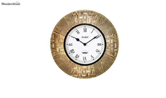 Antique Golden 12-inch Brass Metal Fitted on MDF Wooden Base Decorative Wall Clock-2