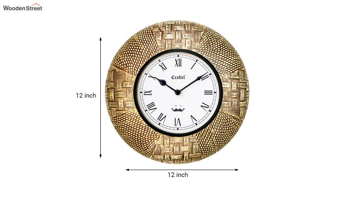 Antique Golden 12-inch Brass Metal Fitted on MDF Wooden Base Decorative Wall Clock-3