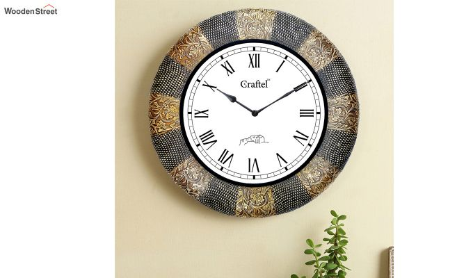 Antique Golden 18-inch Brass Metal Fitted on MDF Wooden Base Decorative Wall Clock-1