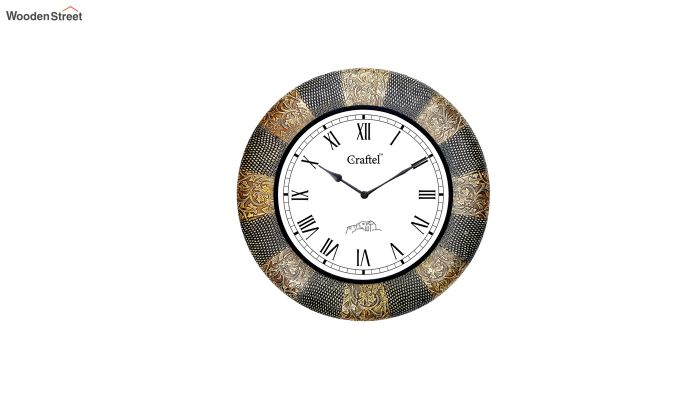 Antique Golden 18-inch Brass Metal Fitted on MDF Wooden Base Decorative Wall Clock-2