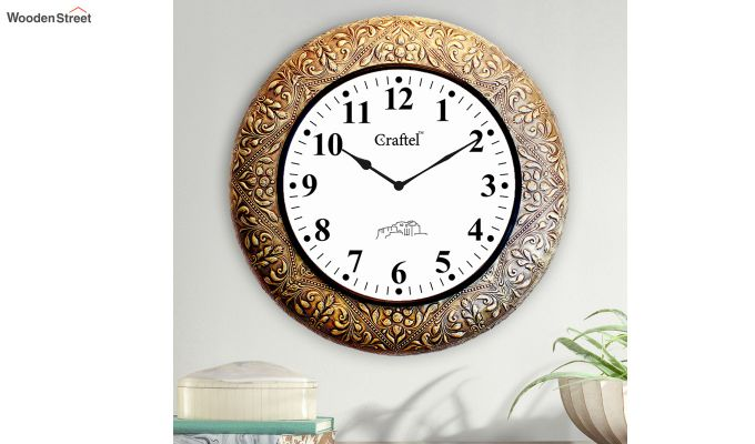 Antique Golden Brass Metal Fitted on MDF Wooden Base Decorative Wall Clock-1