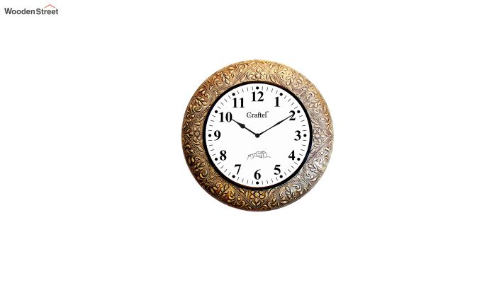Antique Golden Brass Metal Fitted on MDF Wooden Base Decorative Wall Clock-2