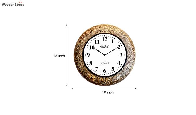 Antique Golden Brass Metal Fitted on MDF Wooden Base Decorative Wall Clock-3