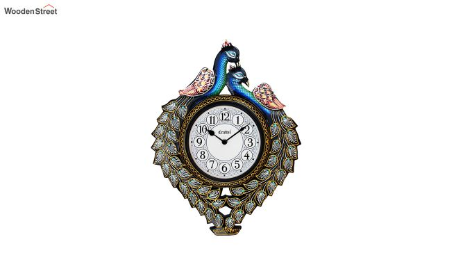 Antique Handcrafted Peacock Decorative Wall Clock-2