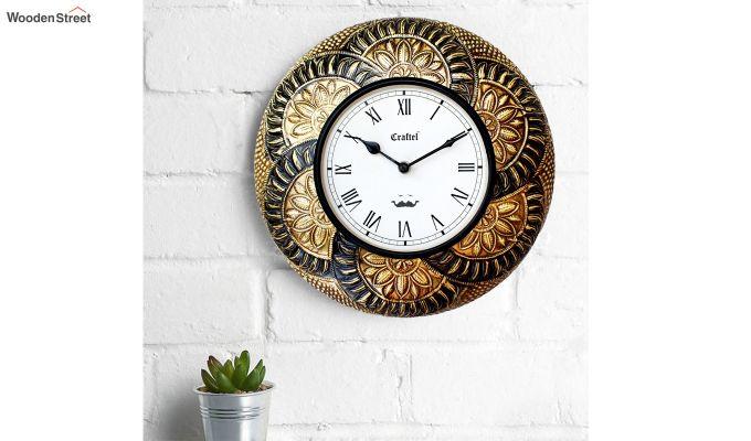 Antique Leaf Design Brass Metal Decorative Wall Clock-1