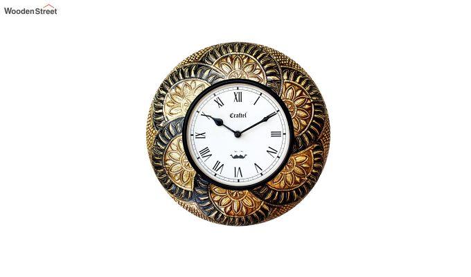 Antique Leaf Design Brass Metal Decorative Wall Clock-2
