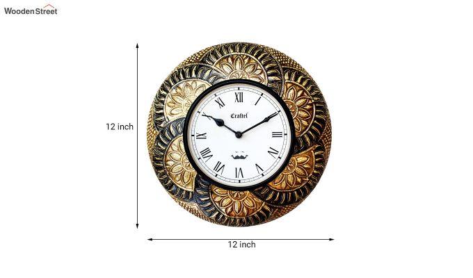 Antique Leaf Design Brass Metal Decorative Wall Clock-3