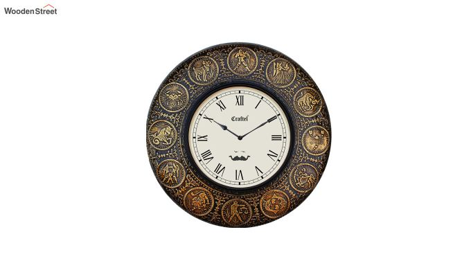 Antique Zodiac Brass Metal Decorative Wall Clock-2