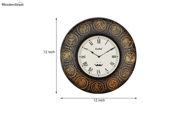 Antique Zodiac Brass Metal Decorative Wall Clock-3