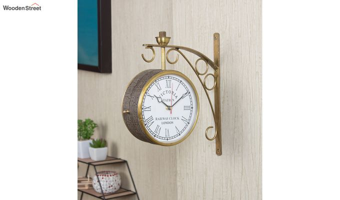 Iron 6-inch Double Sided Leather Coated Station Wall Clock-1