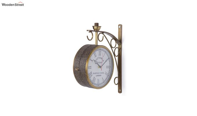 Iron 6-inch Double Sided Leather Coated Station Wall Clock-2