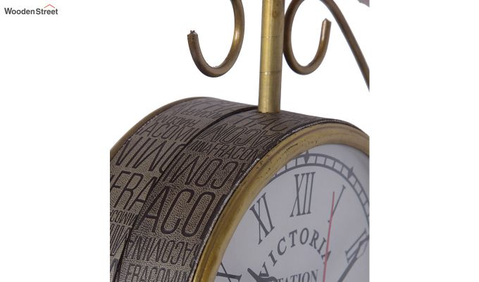 Iron 6-inch Double Sided Leather Coated Station Wall Clock-4